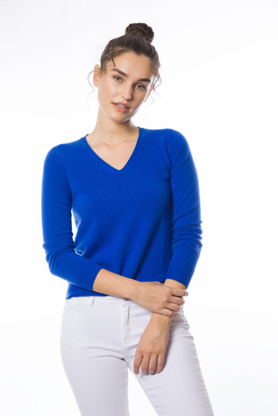 Sustainable Cashmere V-Neck Sweater - Electric Blue - Dongli Cashmere