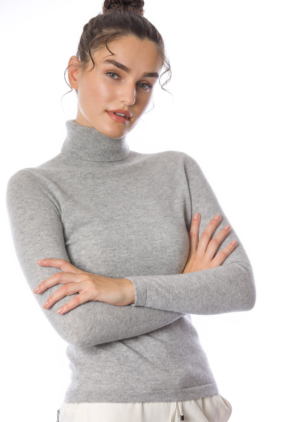 Sustainable Cashmere Turtleneck Sweater - Ice Grey - Dongli Cashmere