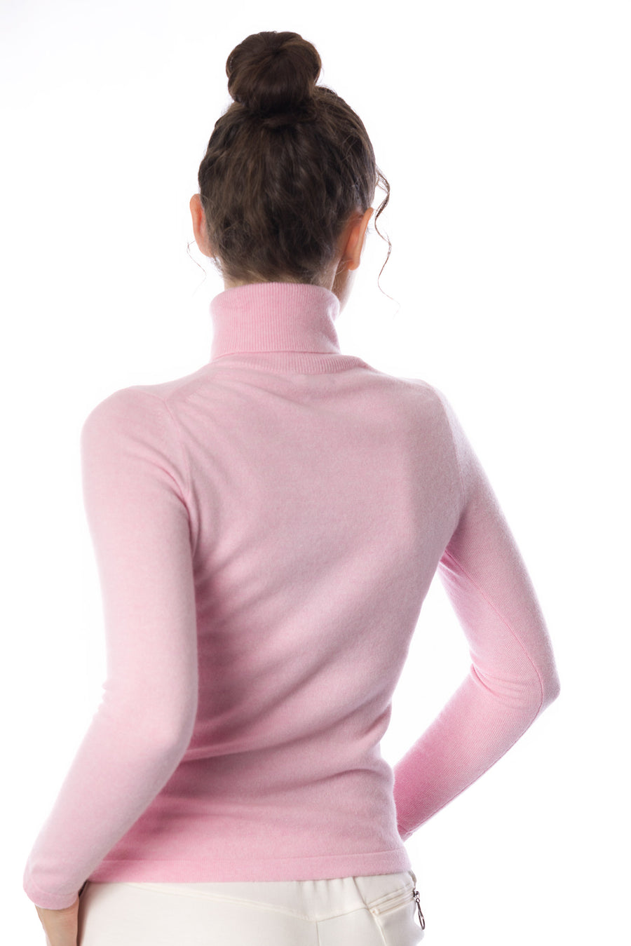 Sustainable Cashmere Turtleneck Sweater - Soft Pink - Dongli Cashmere