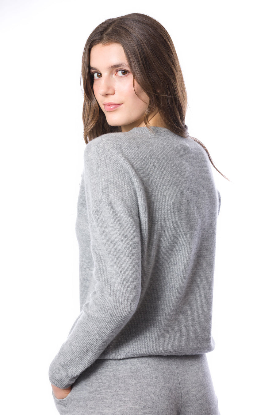 Sustainable Cashmere Waffle Knit Sweatshirt - Heather Grey - Dongli Cashmere