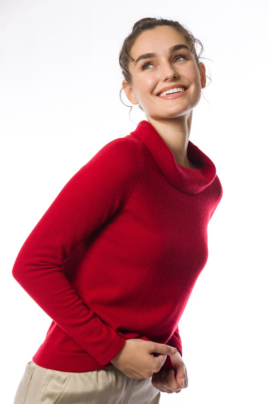 Sustainable Cashmere Bardot Neck Sweater - Red