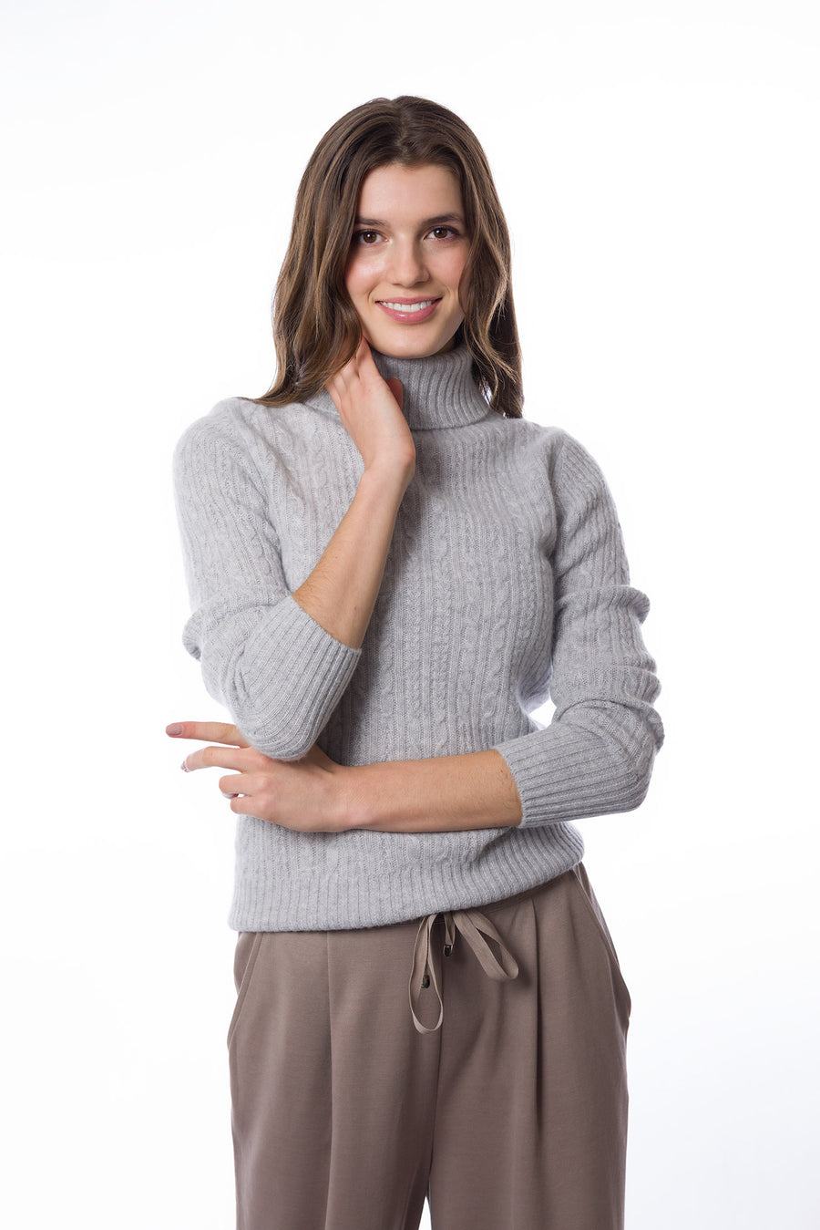 Sustainable Cashmere Cable Knit Sweater - Pale Heather Grey - Dongli Cashmere