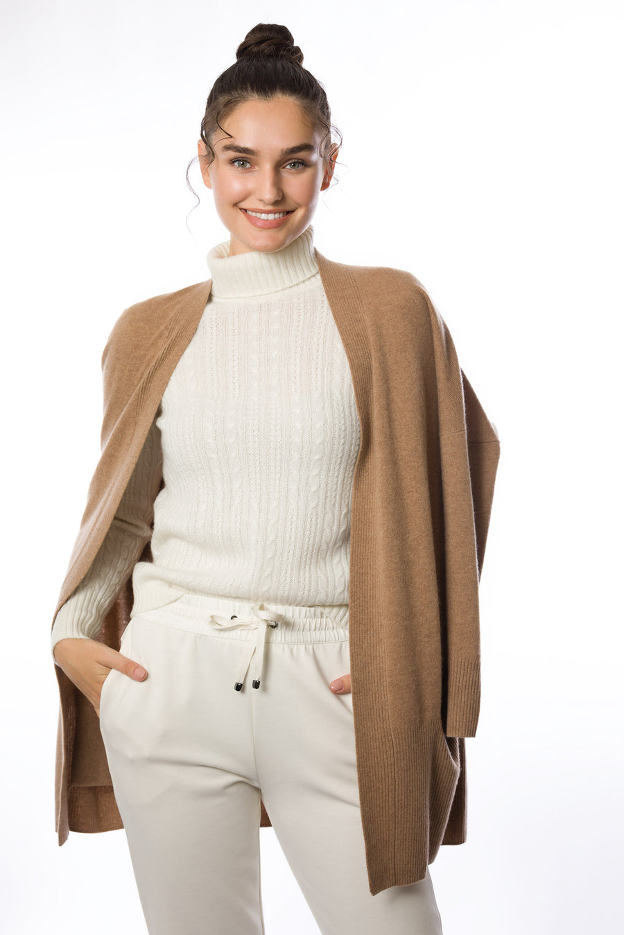 Sustainable Cashmere Cable Knit Sweater - White - Dongli Cashmere