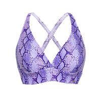 'Cobra' print purple sports bra