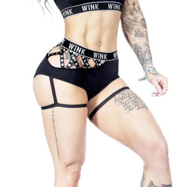 'Mystique' garter shorts black