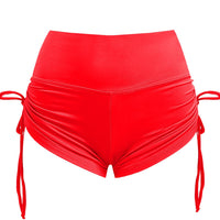 'Noa' Red high waist drawstring shorts