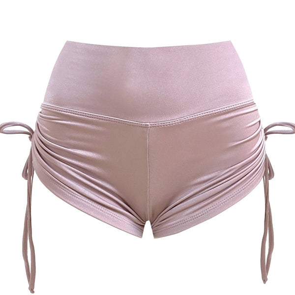 Rose gold high waist drawstring shorts