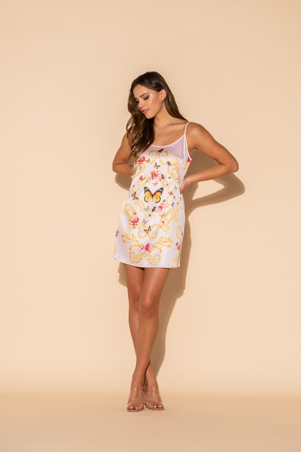 Wrap Up Short Chemise - Pink Butterflies