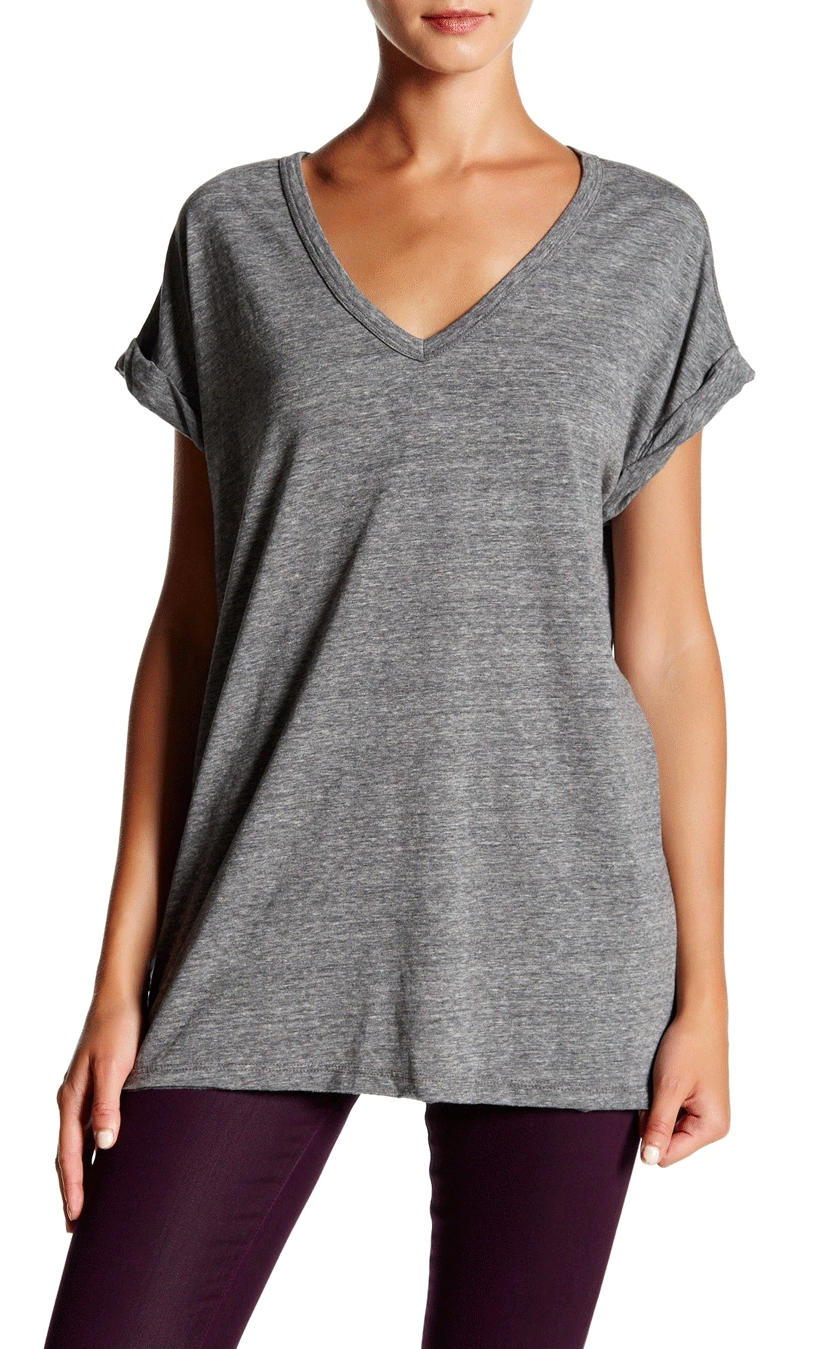 Rolled Sleeve V-Neck Tee
