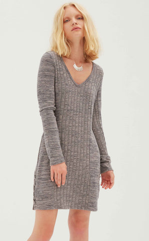 French Terry 3/4 Sleeve Dress with Back Zipper