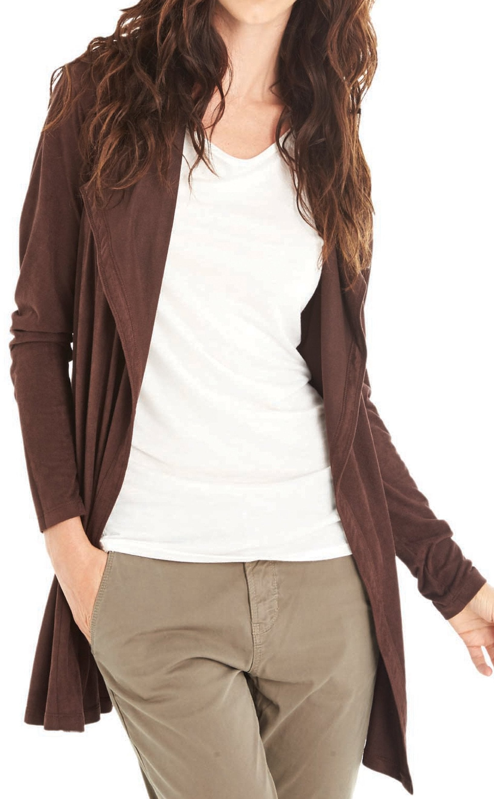 Faux Suede Duster Cardigan