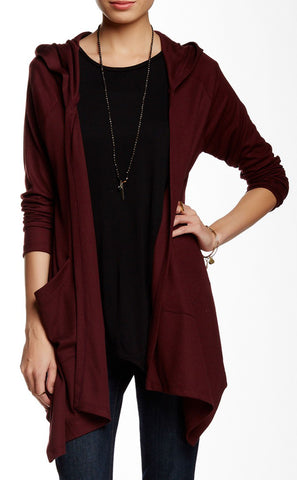 Drapey Hooded Cardigan with Side Pockets