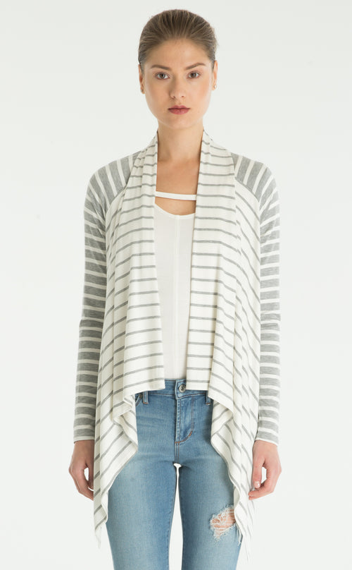 Striped Waterfall Cardigan