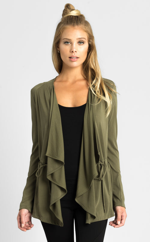 Soft Drape Military Cardigan
