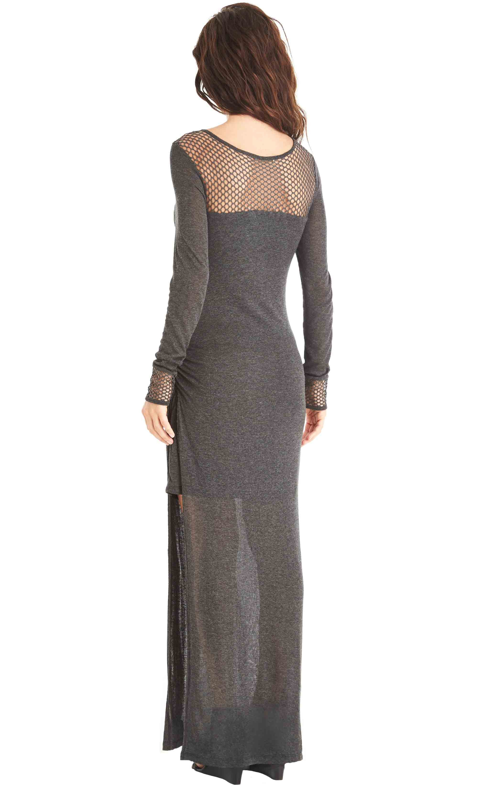 Mesh High Slit Maxi Dress