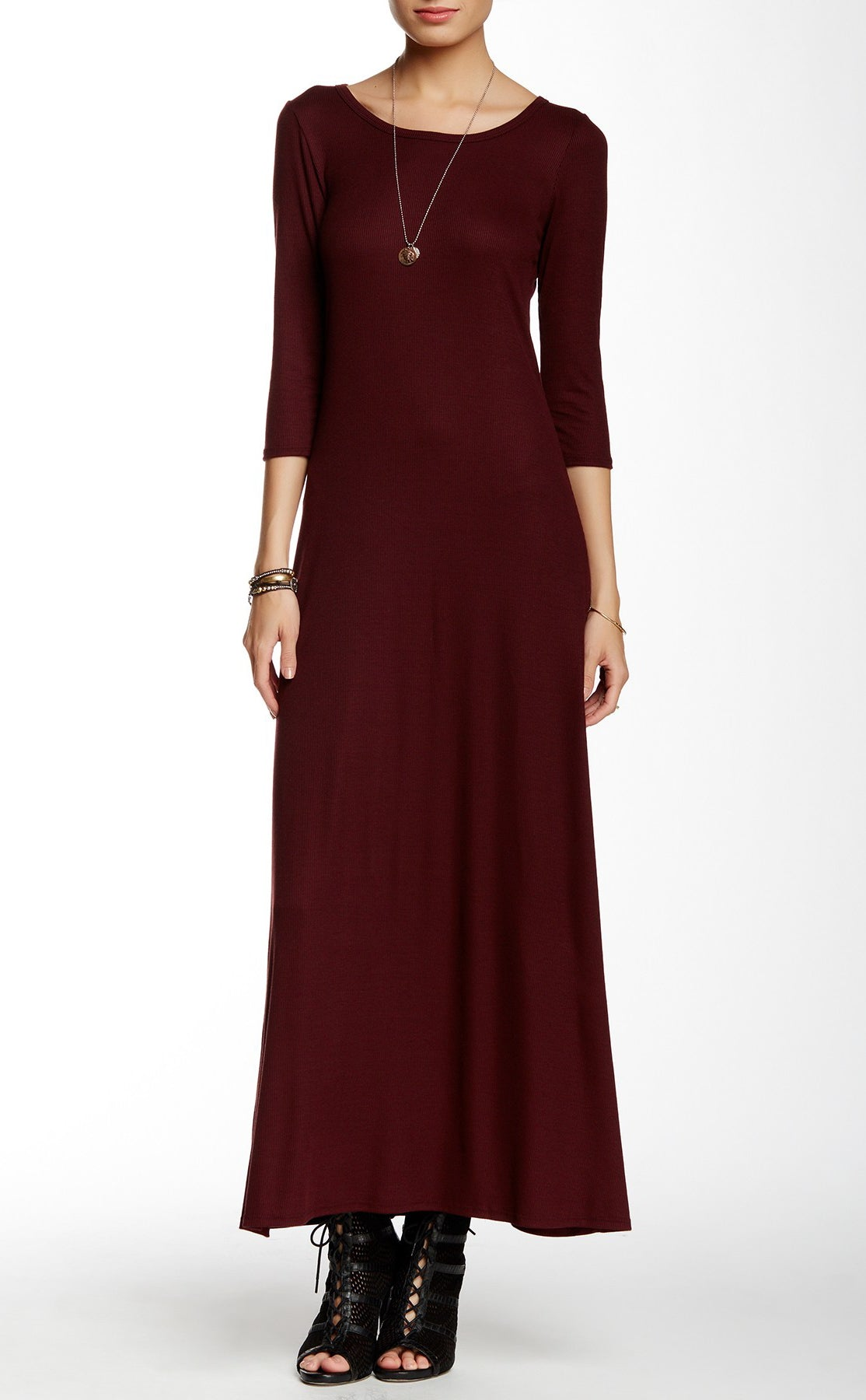 3/4 Sleeve Maxi Dress
