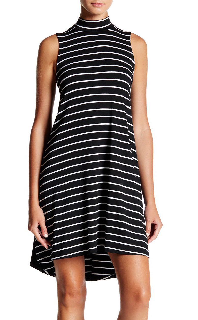 Stripe Mock Neck Swing Dress