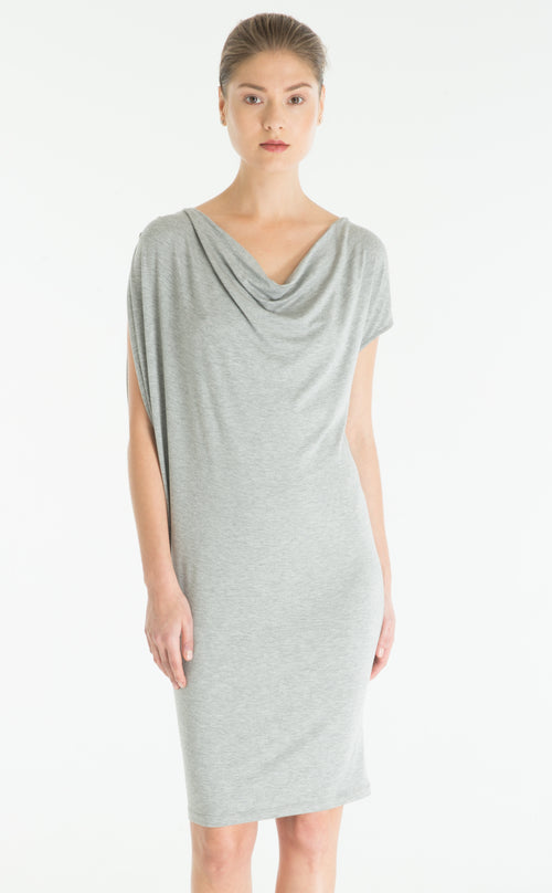 Asymmetrical Cowl Neck Dress