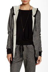 Long Front Zip Heather Hoodie With Pockets