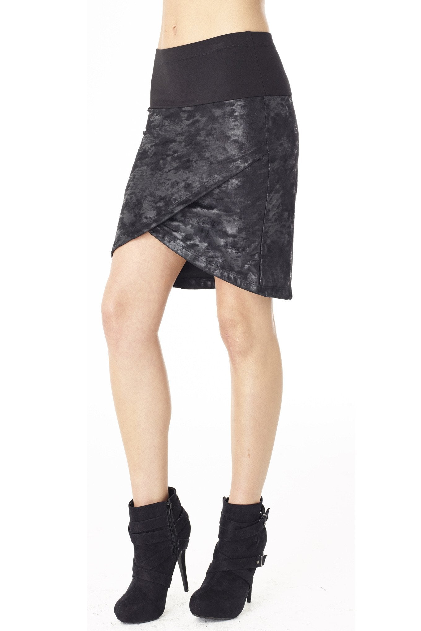 Short Pull-On Wrap Skirt