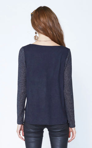 Scoop Neck with Suede Back