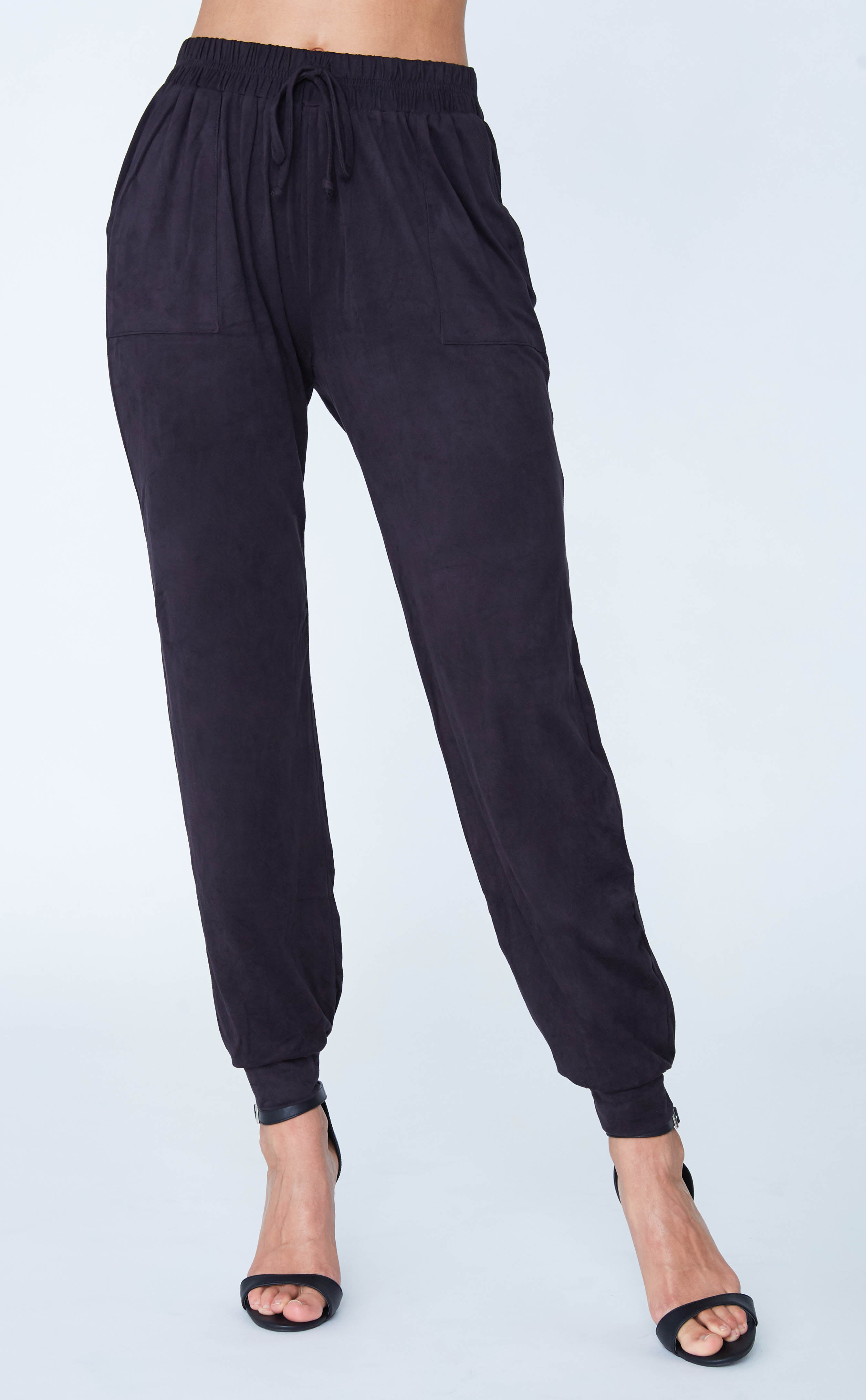 Suede Draw String Track Pant