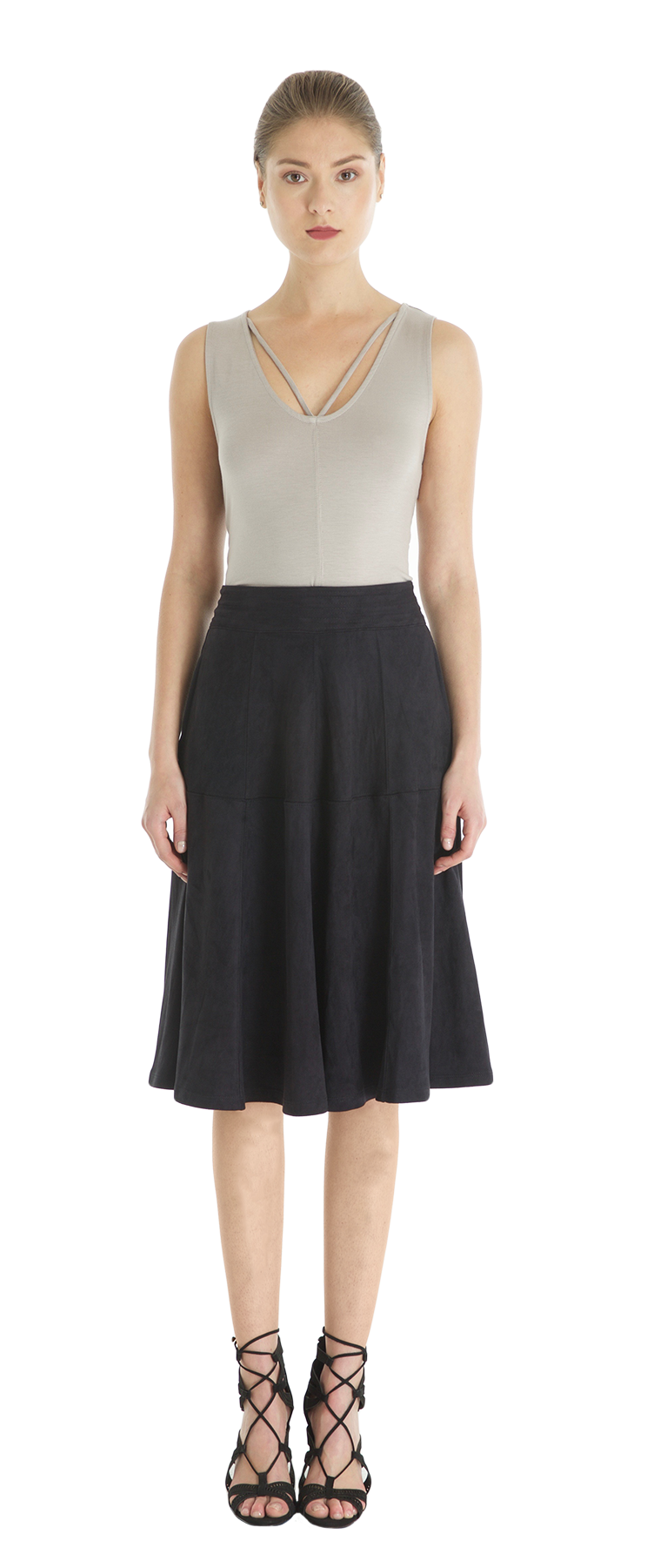 Eco Suede Seamed Full Circle Skirt