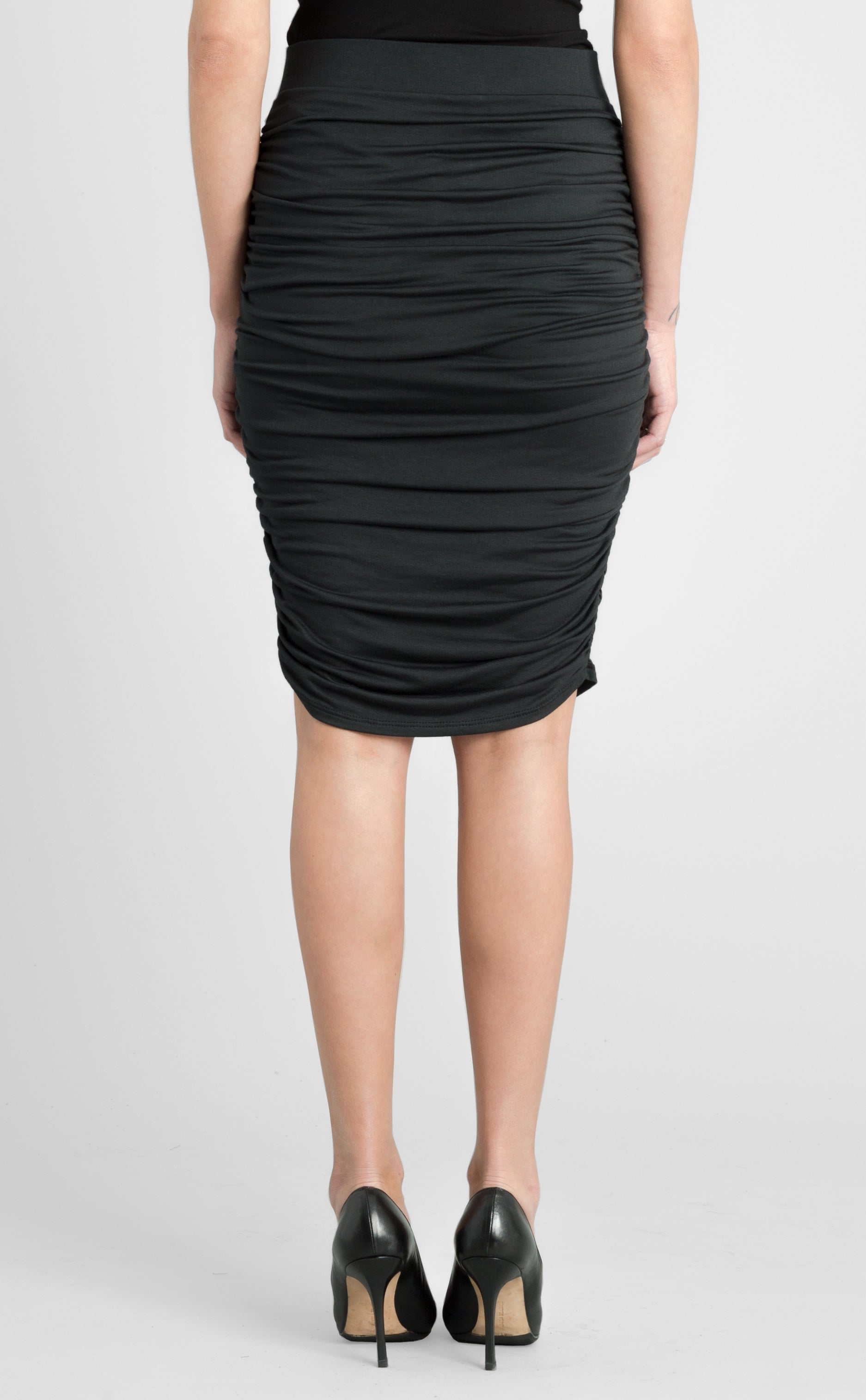Shirred Pencil Skirt