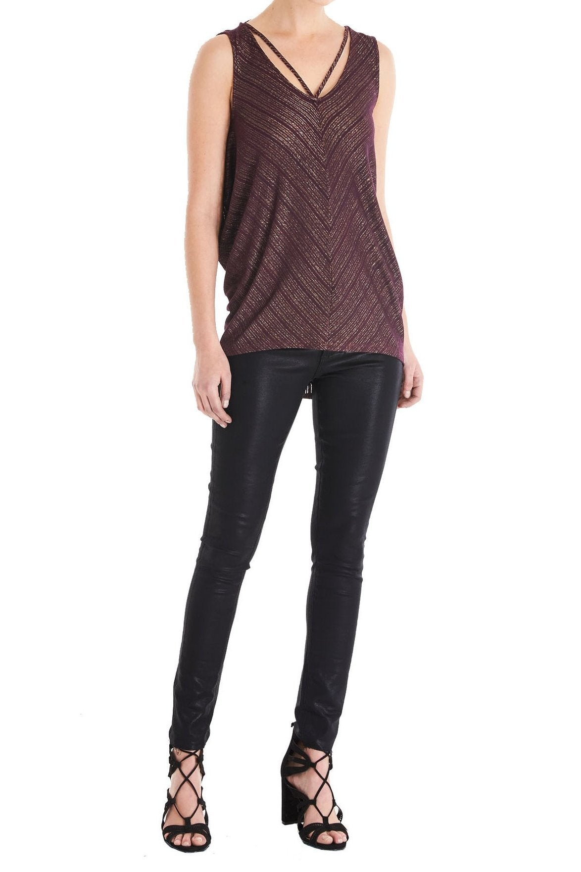Sleeveless Hi Low Top with Neck Detail
