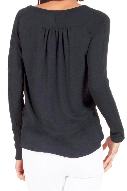 Placket Neck Long Sleeve