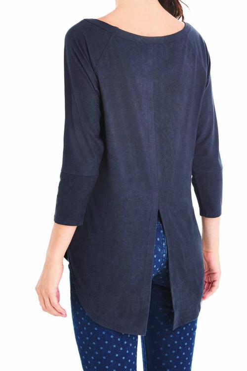 Microsuede Front Keyhole Tunic