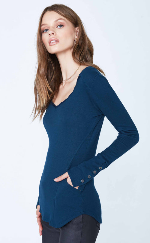 V-Neck Long Sleeve w/ Button Cuffs