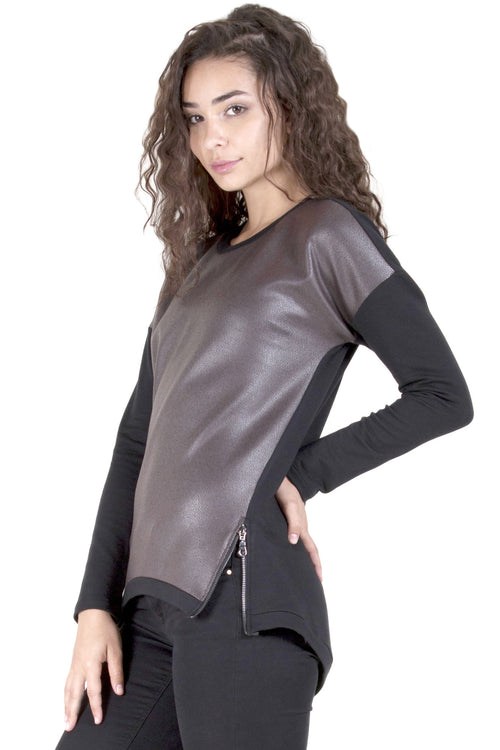 Faux Leather Front Double Zip Sweatshirt