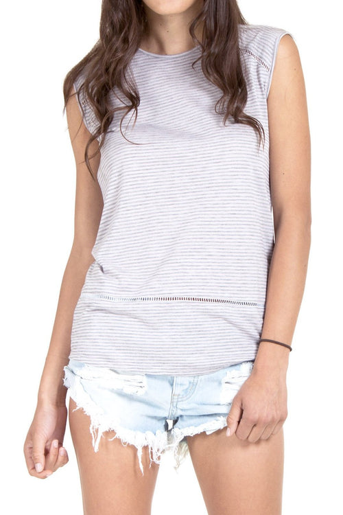 Sleeveless Top with Ladder Trim
