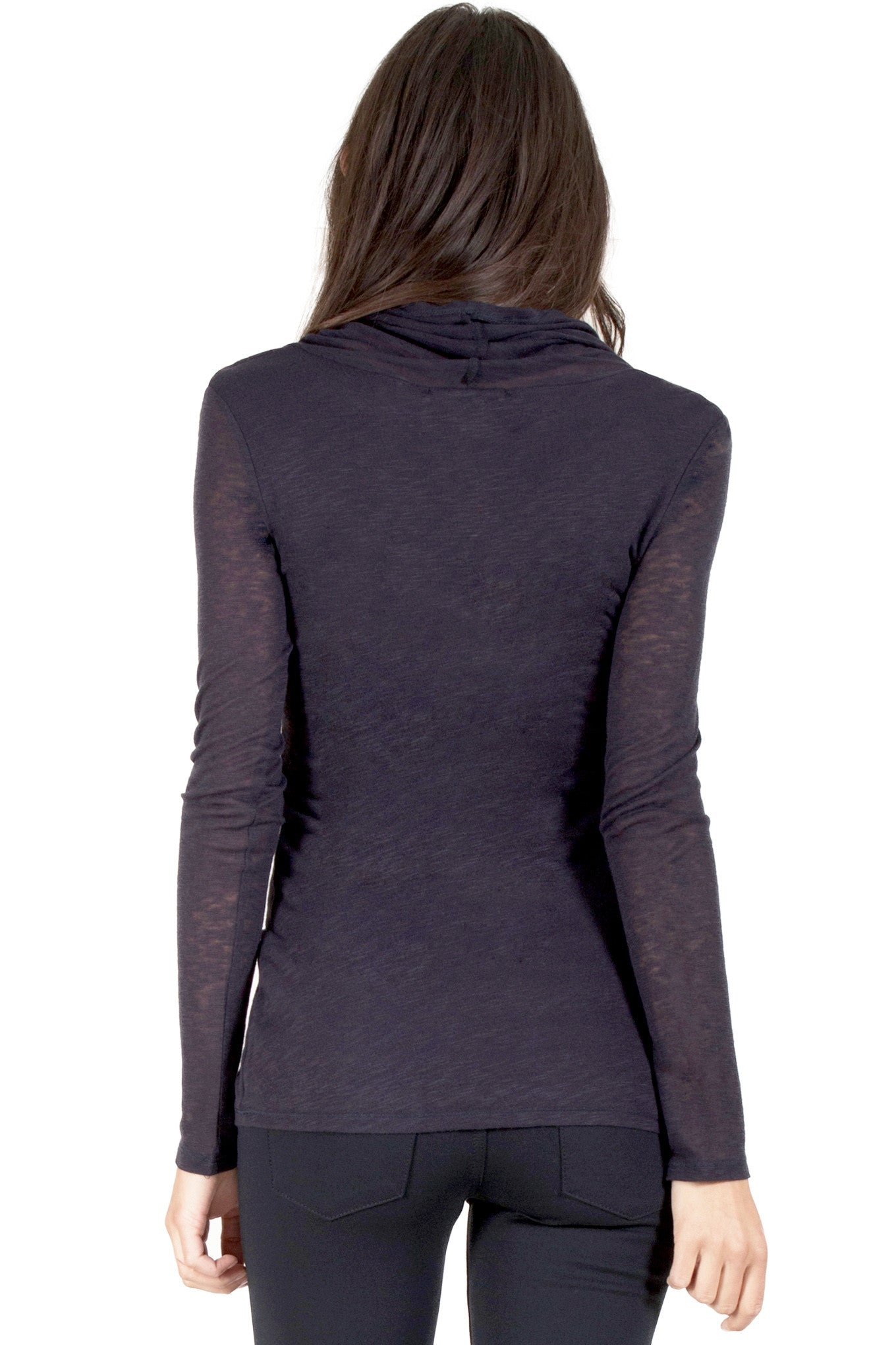 Cowl Neck Double Layered Long Sleeve