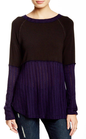 Long Sleeve U-Neck Asymmetrical Top