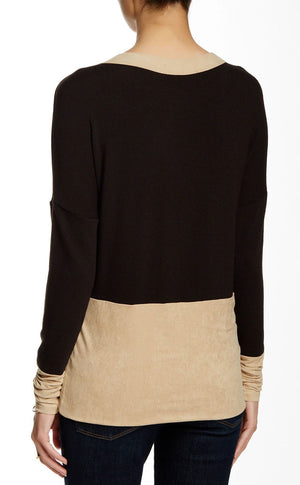 Scoop Neck Long Sleeve with Suede
