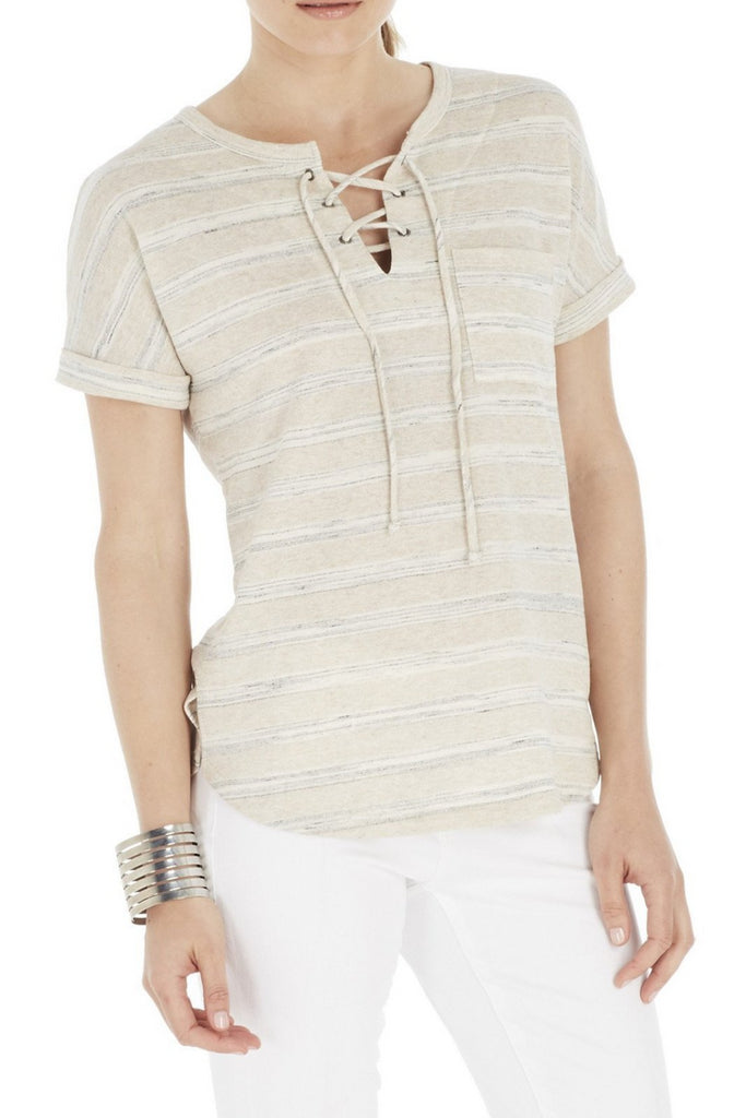 Short Sleeve Top with Grommets laced Up At Front Neck (more colors available)