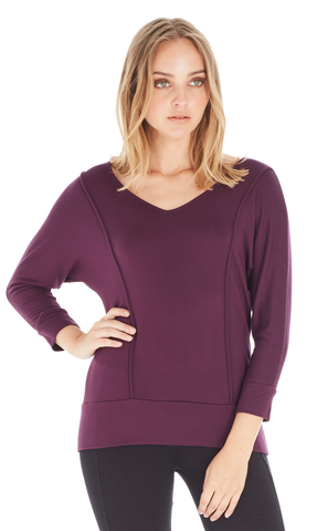 3/4 Sleeve Dolman With Front and Back Seam Detail
