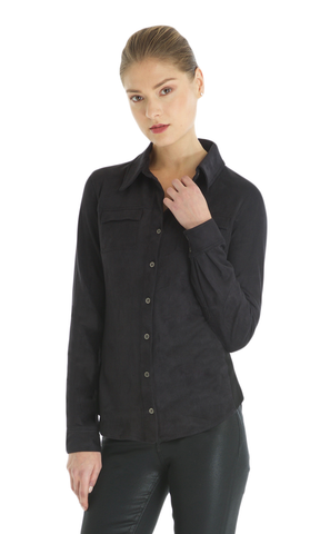 Eco Suede Button Down Top