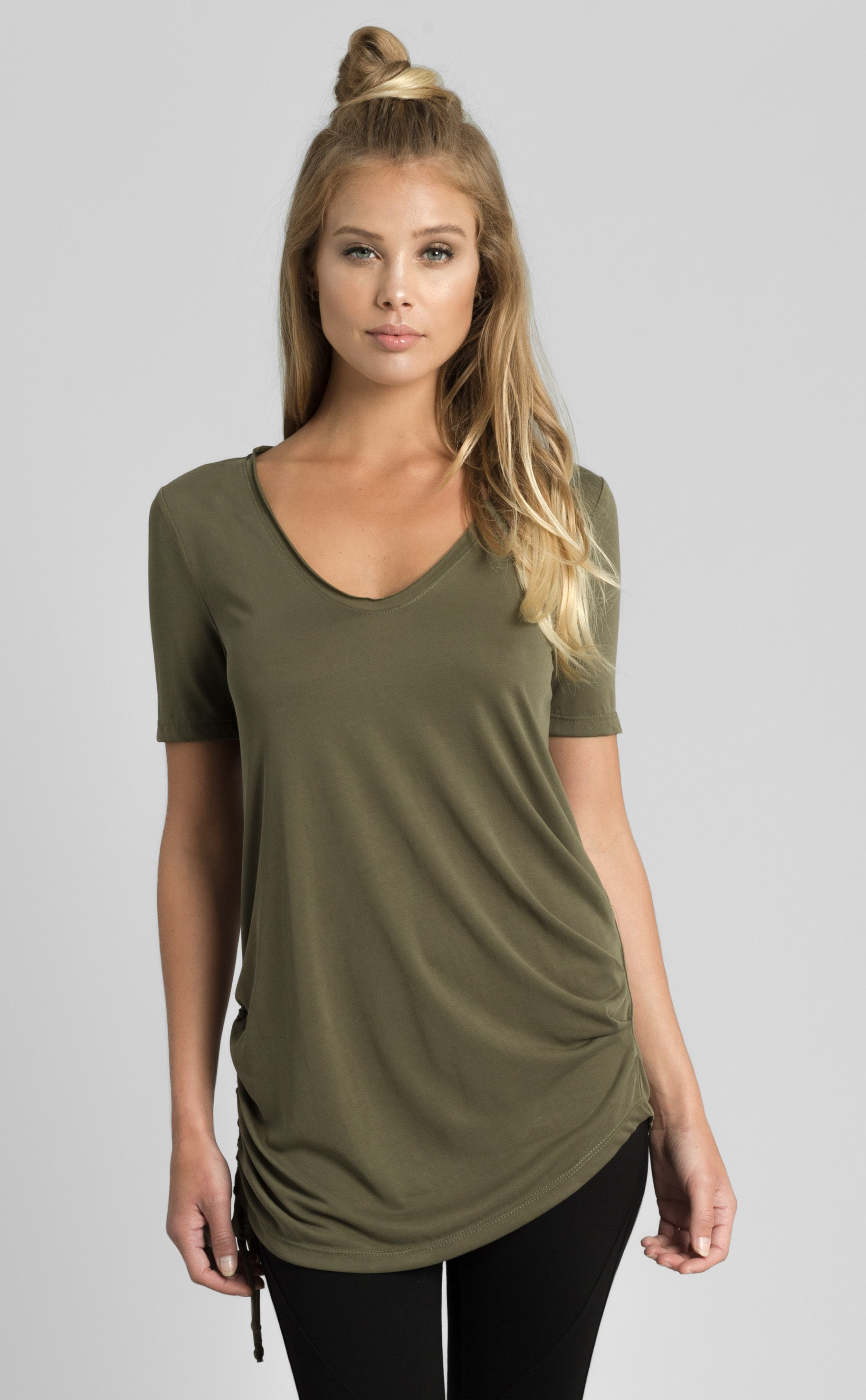 U-Neck with Shirring Detail Top