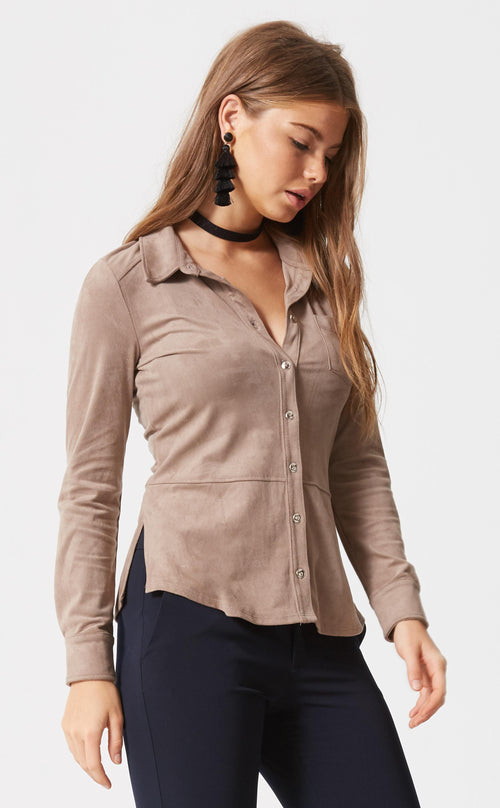 Suede Button Down Top
