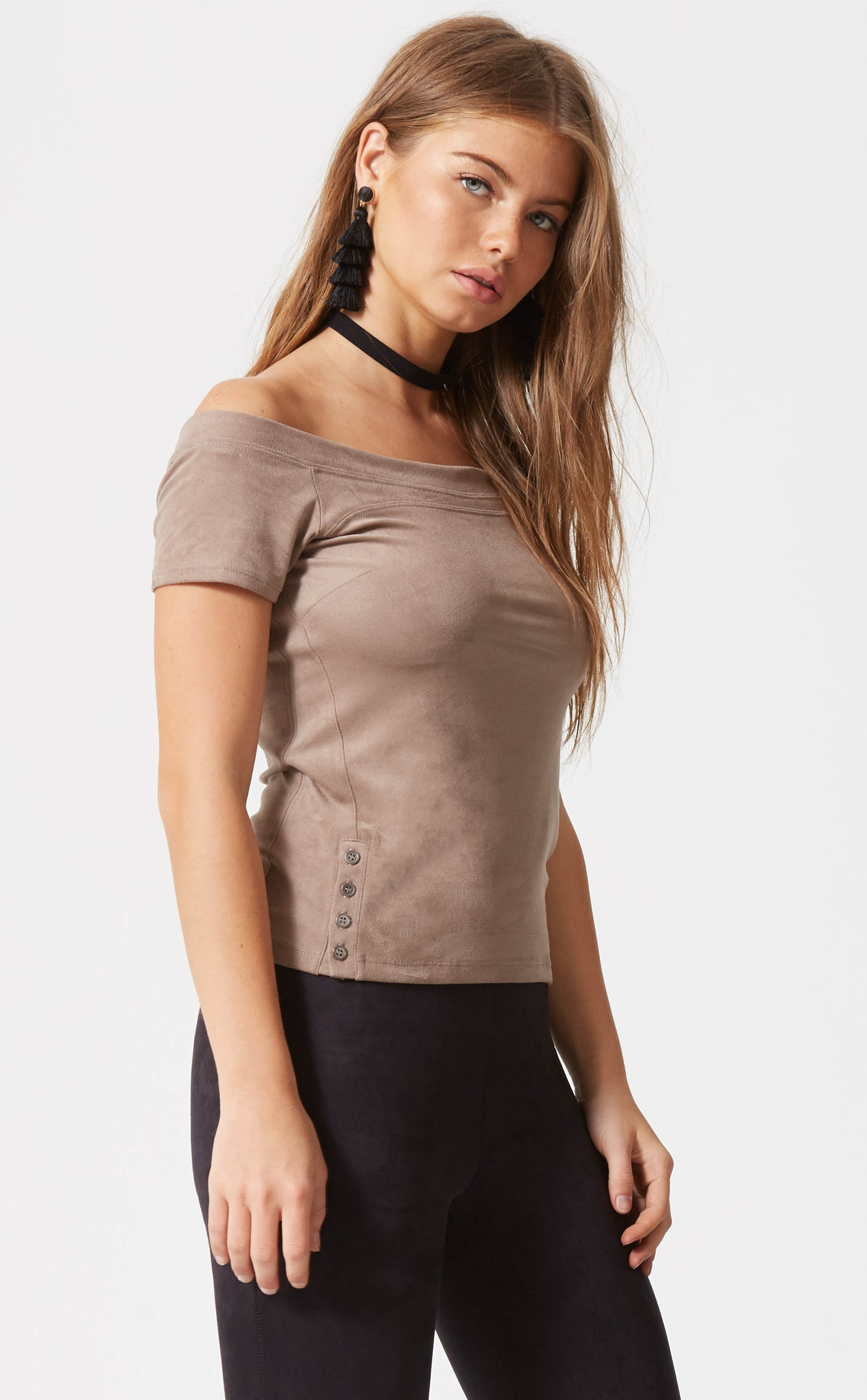 Off The Shoulder Suede Top