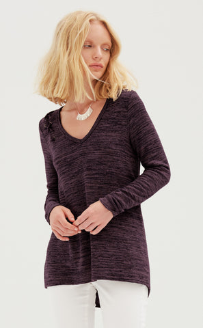 Ribbed Jewel Neck Long Sleeve