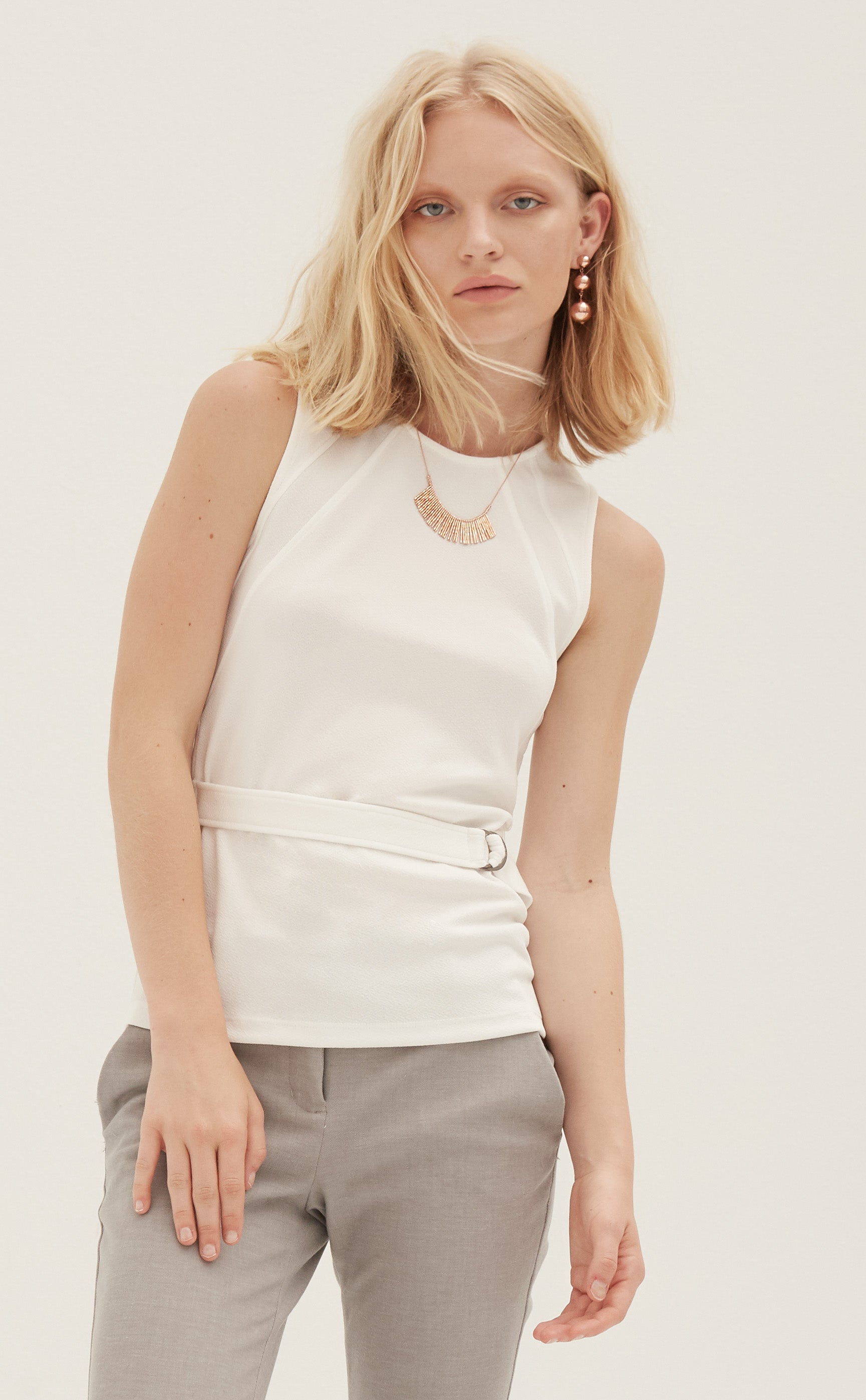 Sleeveless Jewel Neck Top