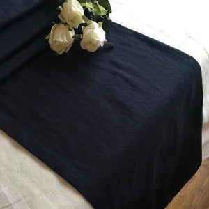 navy linen table runner