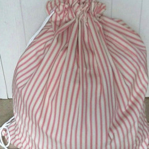 Pink Ticking stripe laundry bag