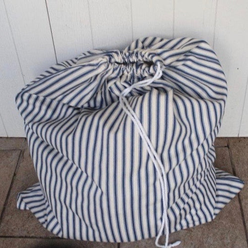 Large ticking stripe laundry bag