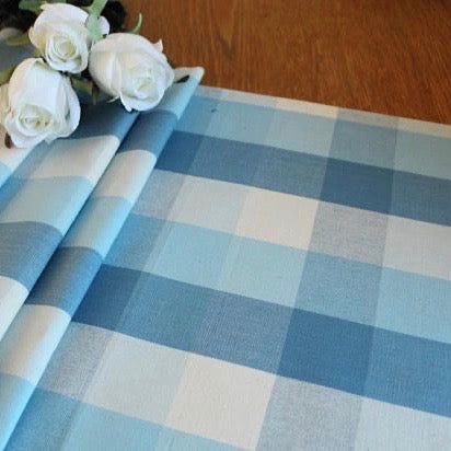 Blue buffalo check table runner