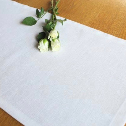 Pure white linen table runner